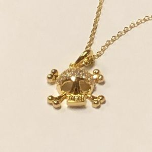 Skull 18k Gold-Silver Plated CZirconia Necklace